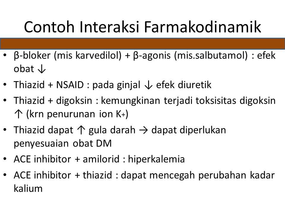 Contoh Interaksi Farmakodinamik β-bloker (mis karvedilol) + β-agonis (mis.salbutamol) : efek obat ↓ Thiazid + NSAID : pada ginjal ↓ efek diuretik Thiazid + digoksin : kemungkinan terjadi toksisitas digoksin ↑ (krn penurunan ion K + ) Thiazid dapat ↑ gula darah → dapat diperlukan penyesuaian obat DM ACE inhibitor + amilorid : hiperkalemia ACE inhibitor + thiazid : dapat mencegah perubahan kadar kalium