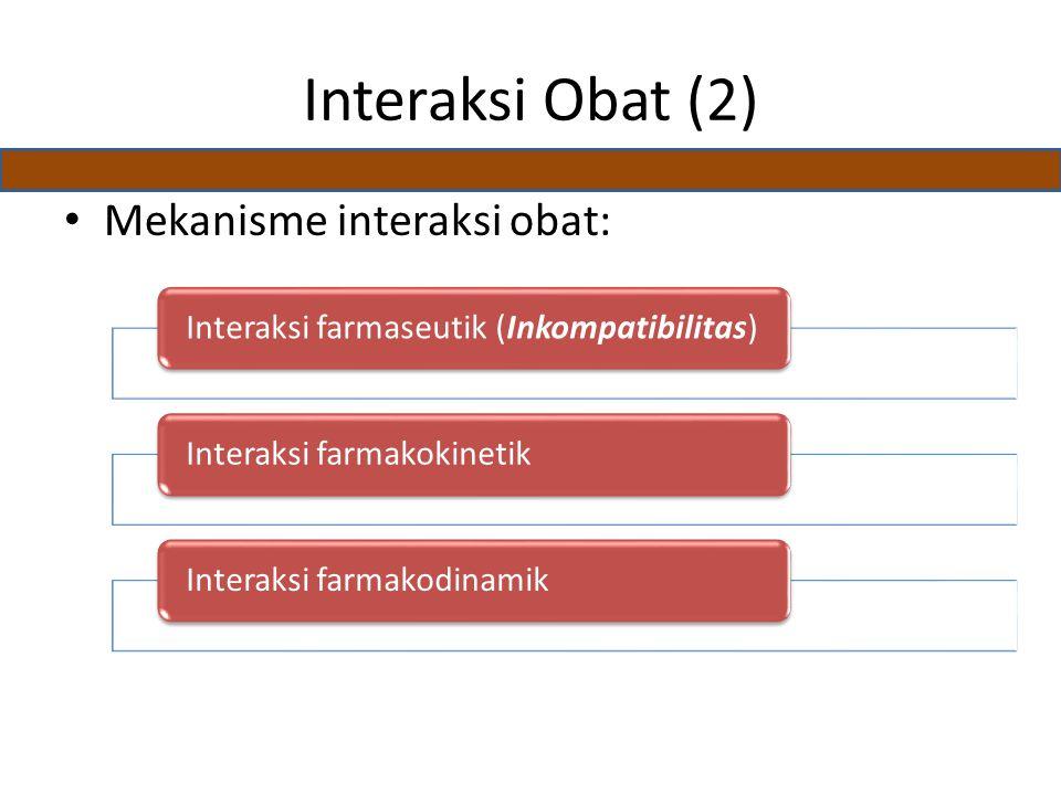 Interaksi Obat (2) Mekanisme interaksi obat: Interaksi farmaseutik (Inkompatibilitas)Interaksi farmakokinetikInteraksi farmakodinamik
