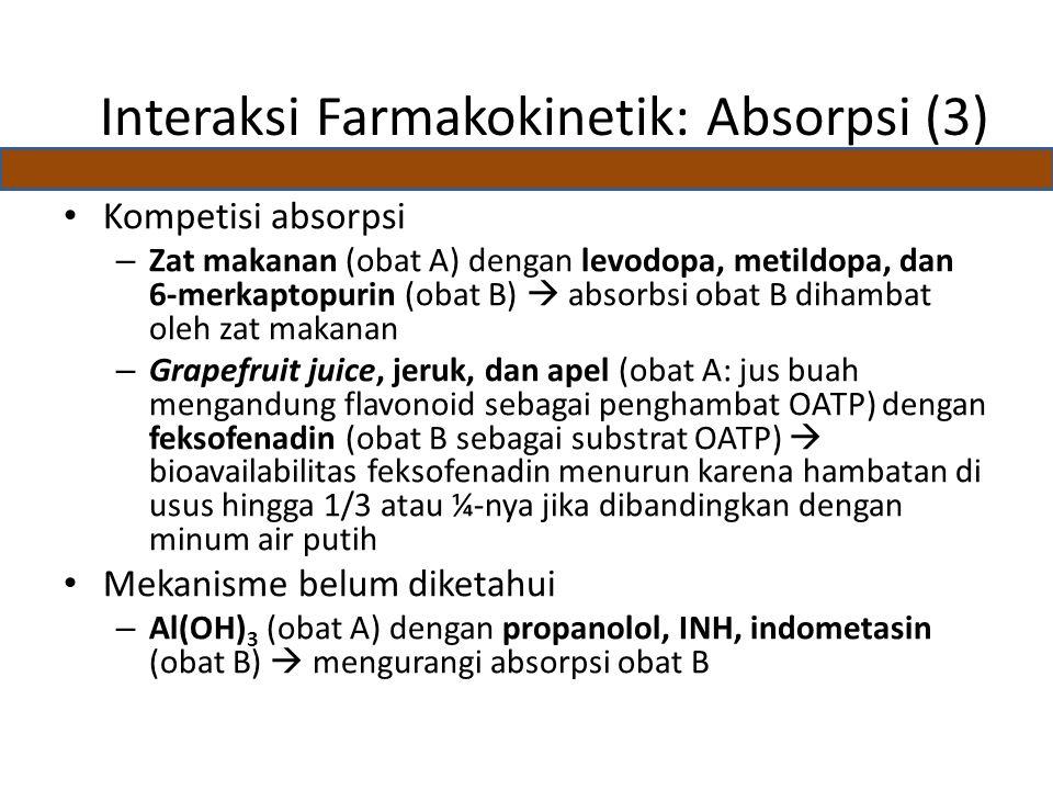 Kompetisi absorpsi – Zat makanan (obat A) dengan levodopa, metildopa, dan 6-merkaptopurin (obat B)  absorbsi obat B dihambat oleh zat makanan – Grapefruit juice, jeruk, dan apel (obat A: jus buah mengandung flavonoid sebagai penghambat OATP) dengan feksofenadin (obat B sebagai substrat OATP)  bioavailabilitas feksofenadin menurun karena hambatan di usus hingga 1/3 atau ¼-nya jika dibandingkan dengan minum air putih Mekanisme belum diketahui – Al(OH) 3 (obat A) dengan propanolol, INH, indometasin (obat B)  mengurangi absorpsi obat B Interaksi Farmakokinetik: Absorpsi (3)