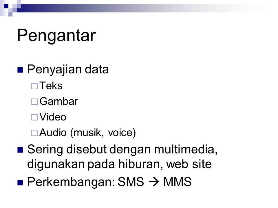 Pengantar Penyajian data  Teks  Gambar  Video  Audio (musik, voice) Sering disebut dengan multimedia, digunakan pada hiburan, web site Perkembanga