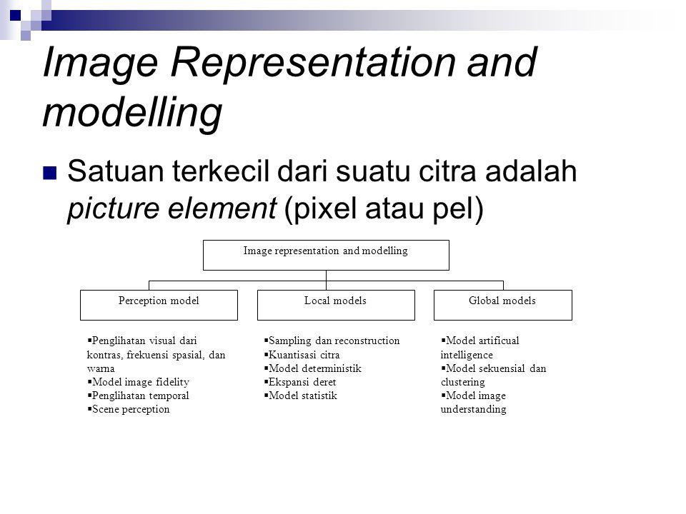 Image Representation and modelling Satuan terkecil dari suatu citra adalah picture element (pixel atau pel) Image representation and modelling Percept