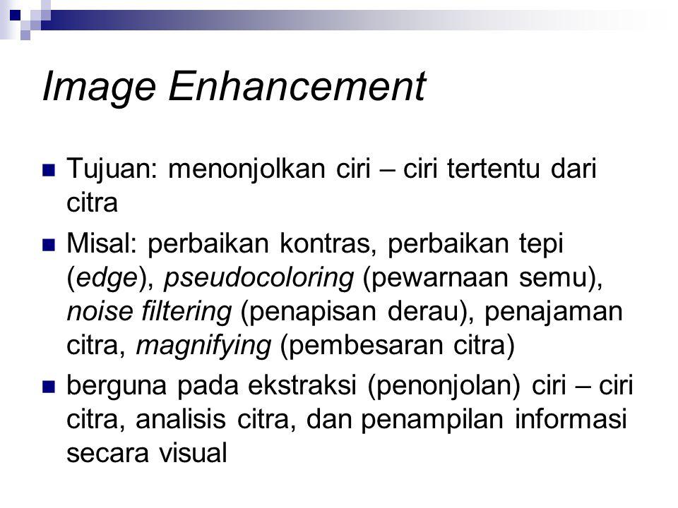 Image Enhancement Tujuan: menonjolkan ciri – ciri tertentu dari citra Misal: perbaikan kontras, perbaikan tepi (edge), pseudocoloring (pewarnaan semu)