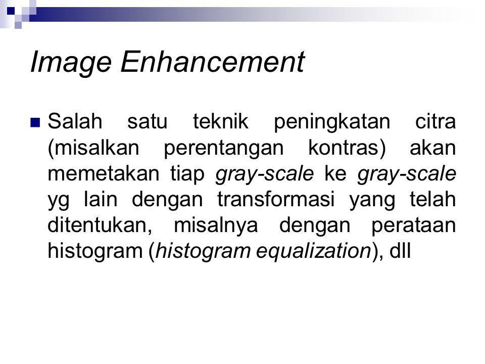 Image Enhancement Salah satu teknik peningkatan citra (misalkan perentangan kontras) akan memetakan tiap gray-scale ke gray-scale yg lain dengan trans