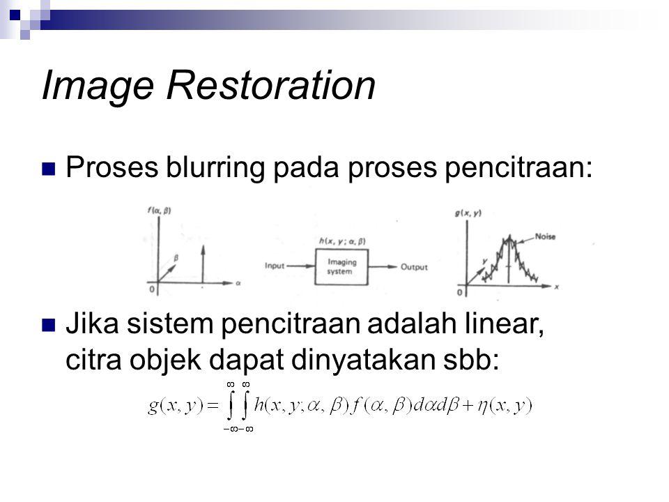 Image Restoration Proses blurring pada proses pencitraan: Jika sistem pencitraan adalah linear, citra objek dapat dinyatakan sbb: