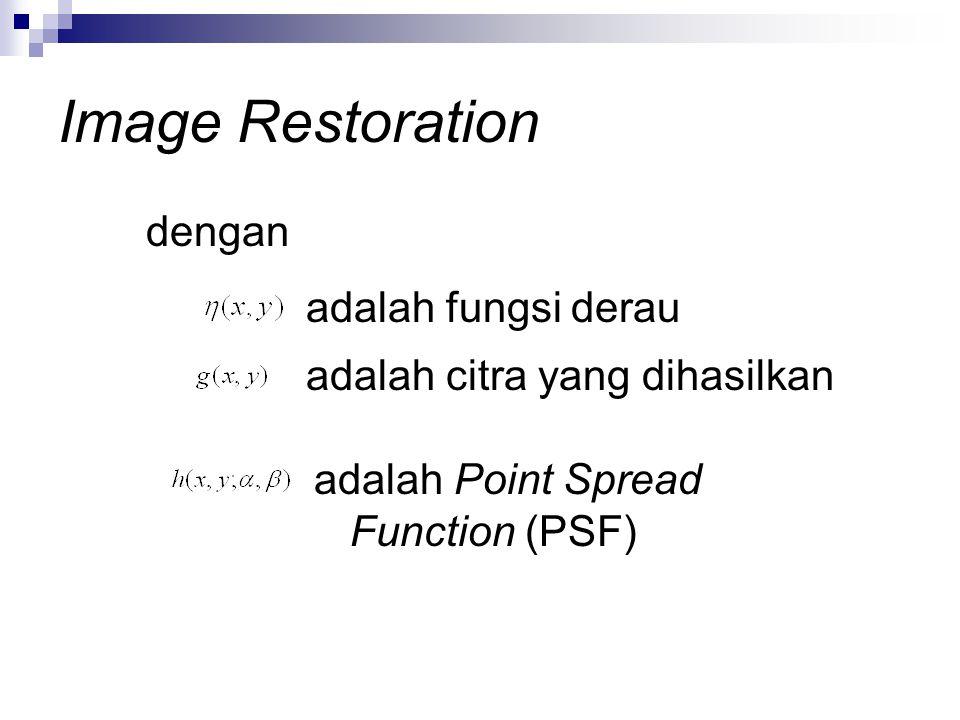 Image Restoration adalah fungsi derau dengan adalah citra yang dihasilkan adalah Point Spread Function (PSF)