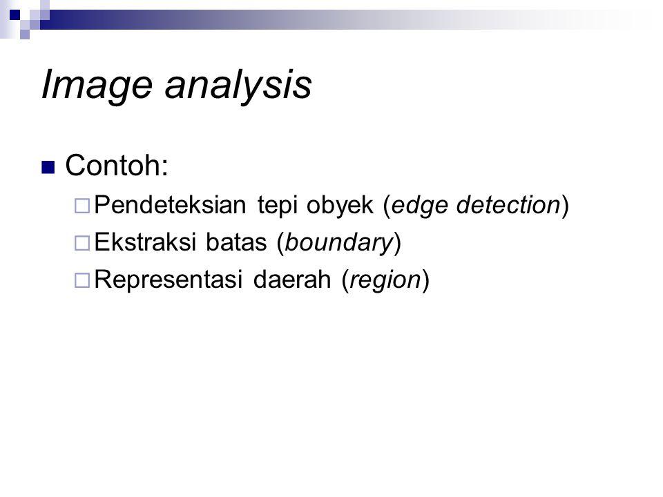 Image analysis Contoh:  Pendeteksian tepi obyek (edge detection)  Ekstraksi batas (boundary)  Representasi daerah (region)