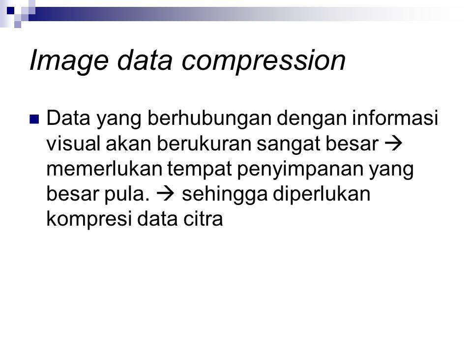 Image data compression Data yang berhubungan dengan informasi visual akan berukuran sangat besar  memerlukan tempat penyimpanan yang besar pula.  se
