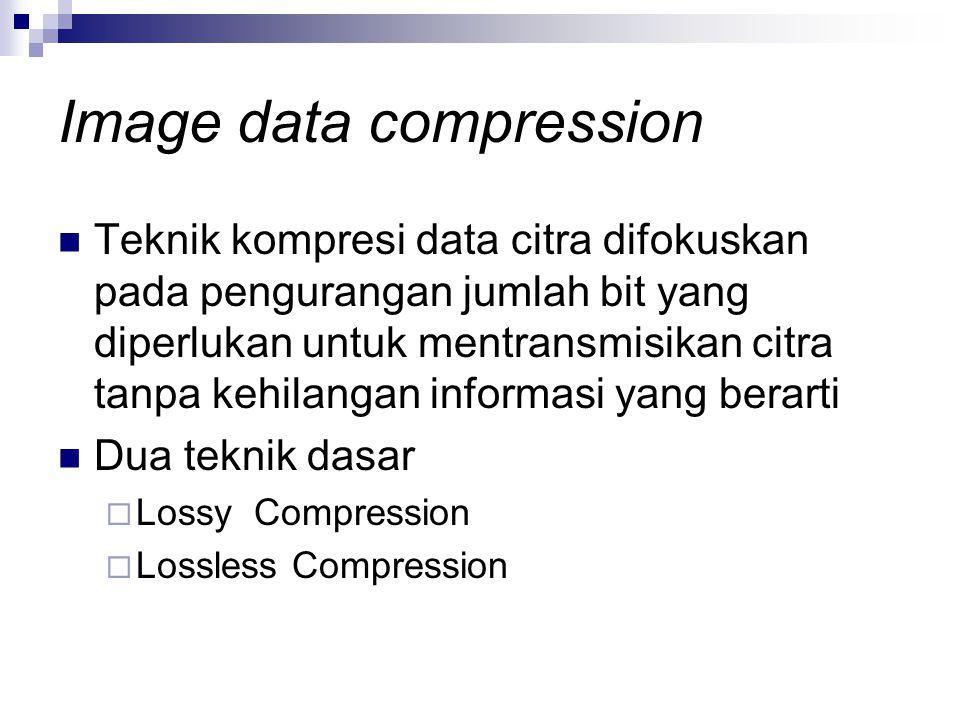 Teknik kompresi data citra difokuskan pada pengurangan jumlah bit yang diperlukan untuk mentransmisikan citra tanpa kehilangan informasi yang berarti