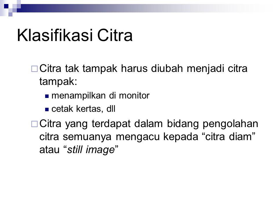 Klasifikasi Citra  Citra tak tampak harus diubah menjadi citra tampak: menampilkan di monitor cetak kertas, dll  Citra yang terdapat dalam bidang pe