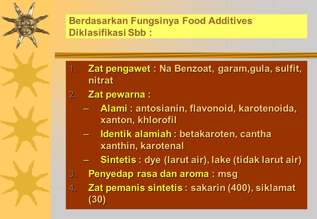 Pemakaian Food Additives Tidak Diperkenankan Apabila :  Untuk menutupi adanya teknik pengolahan dan penanganan yang salah  Untuk menipu konsumen  Menyebabkan penurunan nilai gizi produk  Pengaruh yang dikehendaki bisa diperoleh dengan pengolahan secara lebih baik yang secara ekonomis fisibel