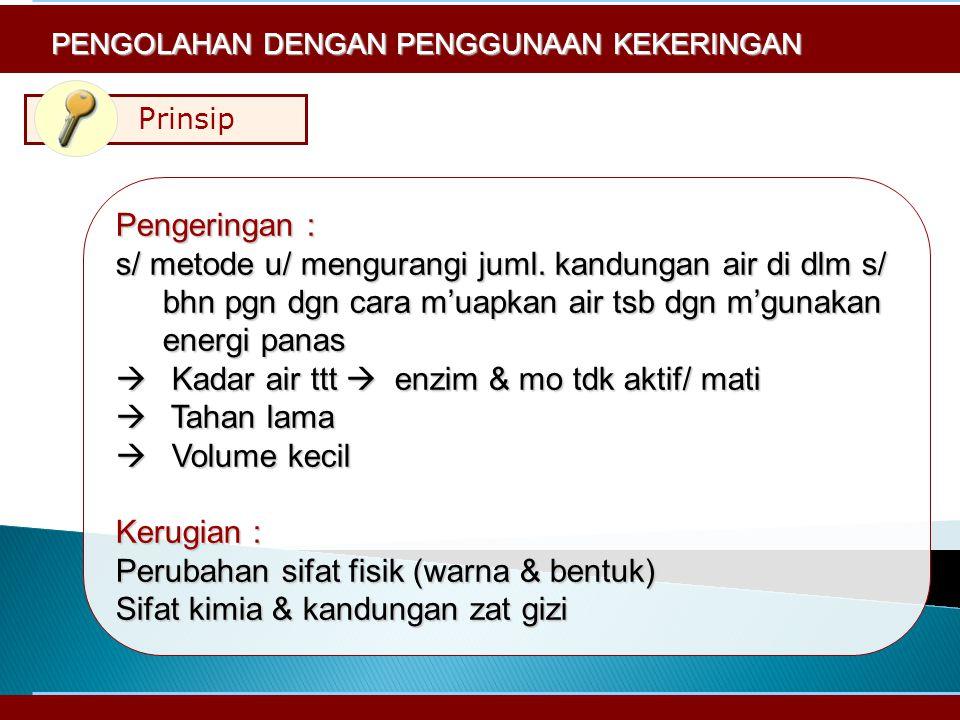 Prinsip Pengeringan : s/ metode u/ mengurangi juml.