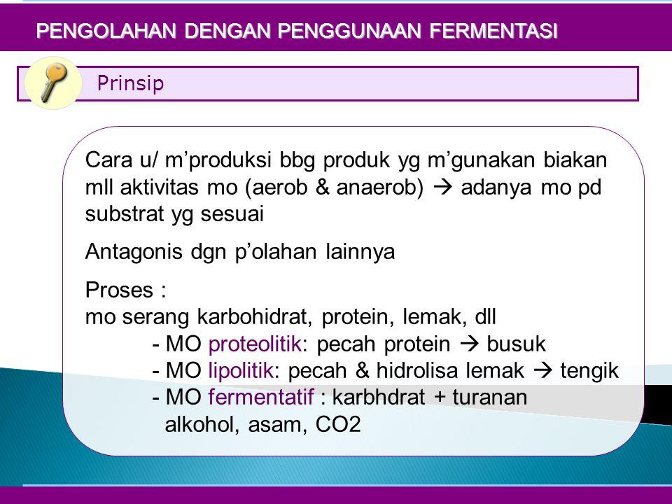 Prinsip PENGOLAHAN DENGAN PENGGUNAAN FERMENTASI Cara u/ m'produksi bbg produk yg m'gunakan biakan mll aktivitas mo (aerob & anaerob)  adanya mo pd substrat yg sesuai Antagonis dgn p'olahan lainnya Proses : mo serang karbohidrat, protein, lemak, dll - MO proteolitik: pecah protein  busuk - MO lipolitik: pecah & hidrolisa lemak  tengik - MO fermentatif : karbhdrat + turanan alkohol, asam, CO2