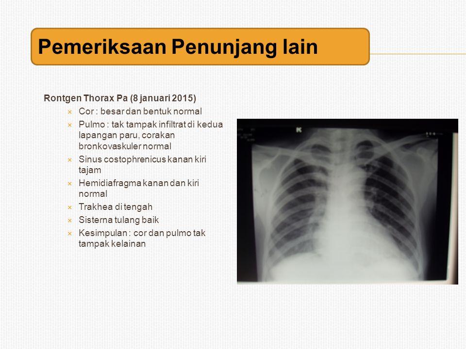 Rontgen Thorax Pa (8 januari 2015)  Cor : besar dan bentuk normal  Pulmo : tak tampak infiltrat di kedua lapangan paru, corakan bronkovaskuler norma