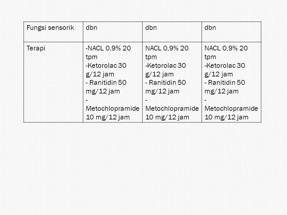 Fungsi sensorikdbn Terapi-NACL 0,9% 20 tpm -Ketorolac 30 g/12 jam - Ranitidin 50 mg/12 jam - Metochlopramide 10 mg/12 jam NACL 0,9% 20 tpm -Ketorolac
