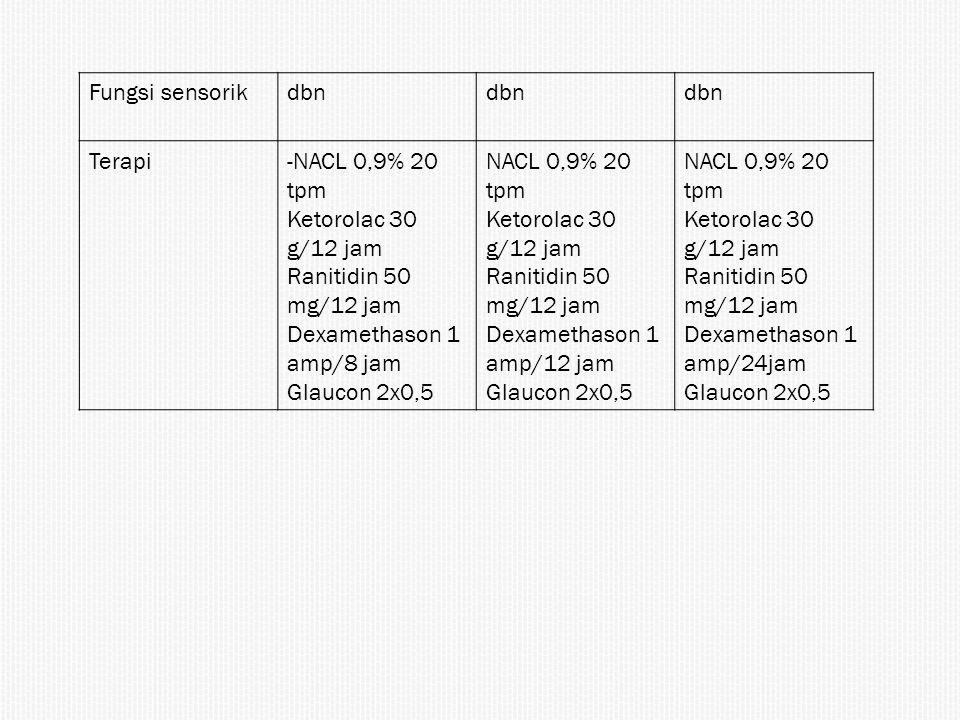 Fungsi sensorikdbn Terapi-NACL 0,9% 20 tpm Ketorolac 30 g/12 jam Ranitidin 50 mg/12 jam Dexamethason 1 amp/8 jam Glaucon 2x0,5 NACL 0,9% 20 tpm Ketoro