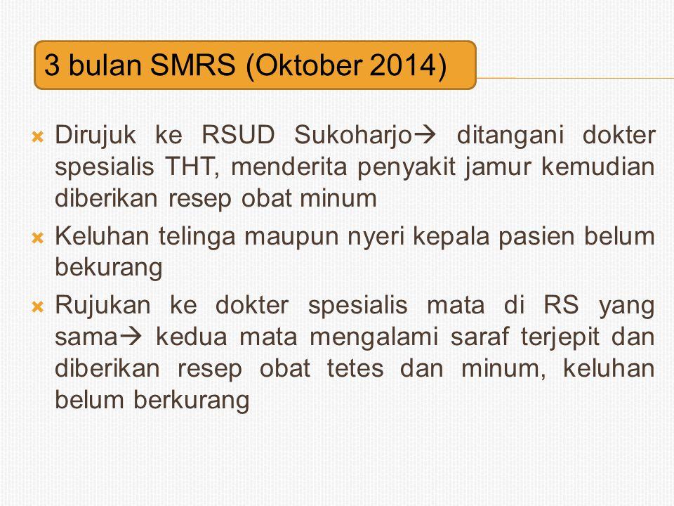  Dirujuk ke RSUD Sukoharjo  ditangani dokter spesialis THT, menderita penyakit jamur kemudian diberikan resep obat minum  Keluhan telinga maupun ny