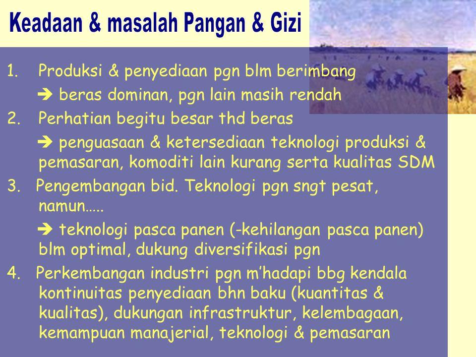 1.Produksi & penyediaan pgn blm berimbang  beras dominan, pgn lain masih rendah 2.Perhatian begitu besar thd beras  penguasaan & ketersediaan teknol