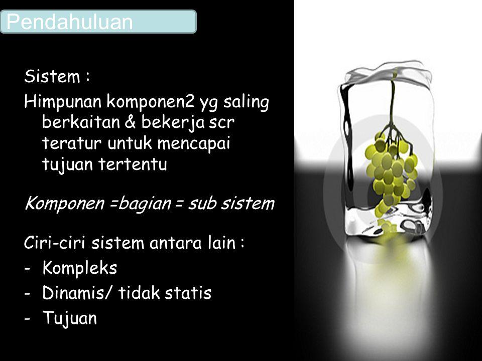 Sistem : Himpunan komponen2 yg saling berkaitan & bekerja scr teratur untuk mencapai tujuan tertentu Komponen =bagian = sub sistem Ciri-ciri sistem an
