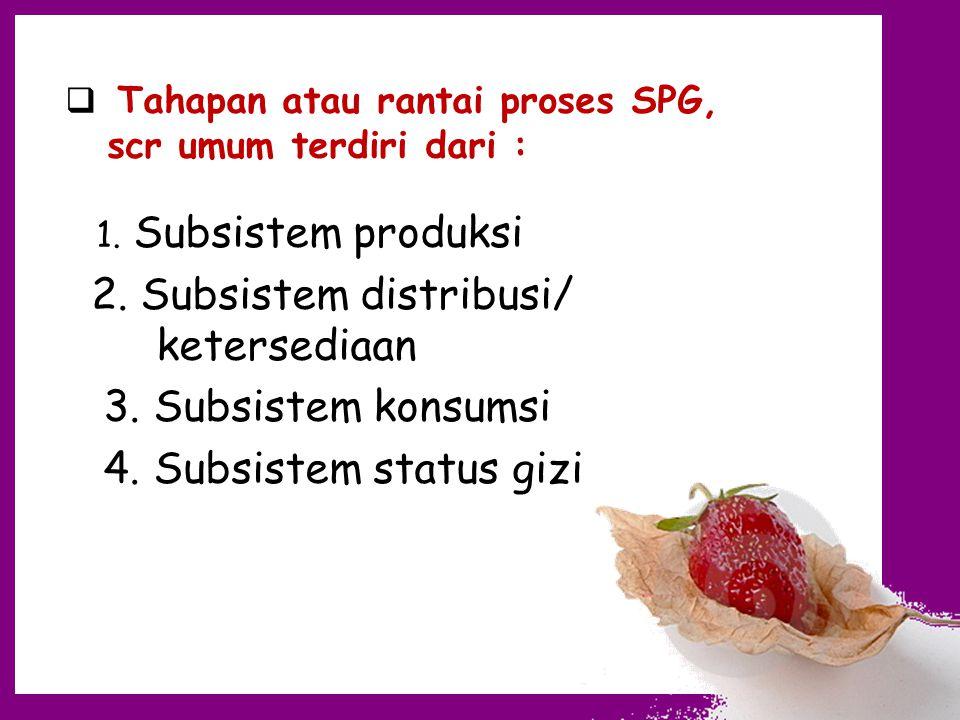  Tahapan atau rantai proses SPG, scr umum terdiri dari : 1. Subsistem produksi 2. Subsistem distribusi/ ketersediaan 3. Subsistem konsumsi 4. Subsist