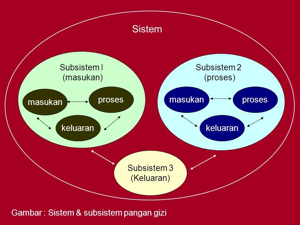 Sistem Subsistem 3 (Keluaran) masukan proses keluaran masukanproses keluaran Subsistem I (masukan) Subsistem 2 (proses) Gambar : Sistem & subsistem pa