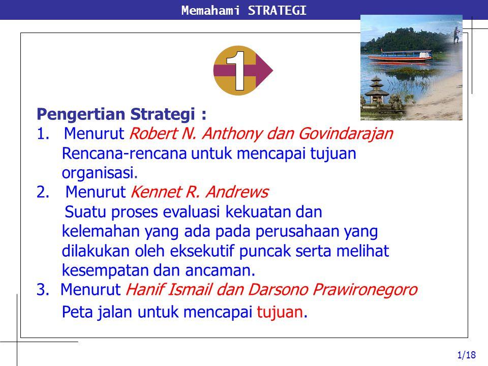 Memahami STRATEGI 1/18 Pengertian Strategi : 1.Menurut Robert N. Anthony dan Govindarajan Rencana-rencana untuk mencapai tujuan organisasi. 2. Menurut