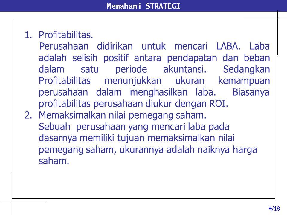 Memahami STRATEGI 1.Profitabilitas. Perusahaan didirikan untuk mencari LABA. Laba adalah selisih positif antara pendapatan dan beban dalam satu period