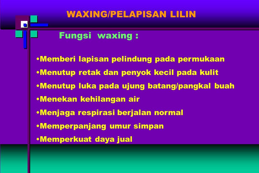 WAXING/PELAPISAN LILIN Fungsi waxing : Memberi lapisan pelindung pada permukaan Menutup retak dan penyok kecil pada kulit Menutup luka pada ujung bata