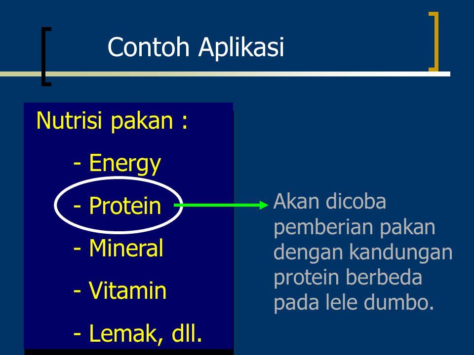 Contoh Aplikasi Nutrisi pakan : - Energy - Protein - Mineral - Vitamin - Lemak, dll. Nutrisi pakan : - Energy - Protein - Mineral - Vitamin - Lemak, d