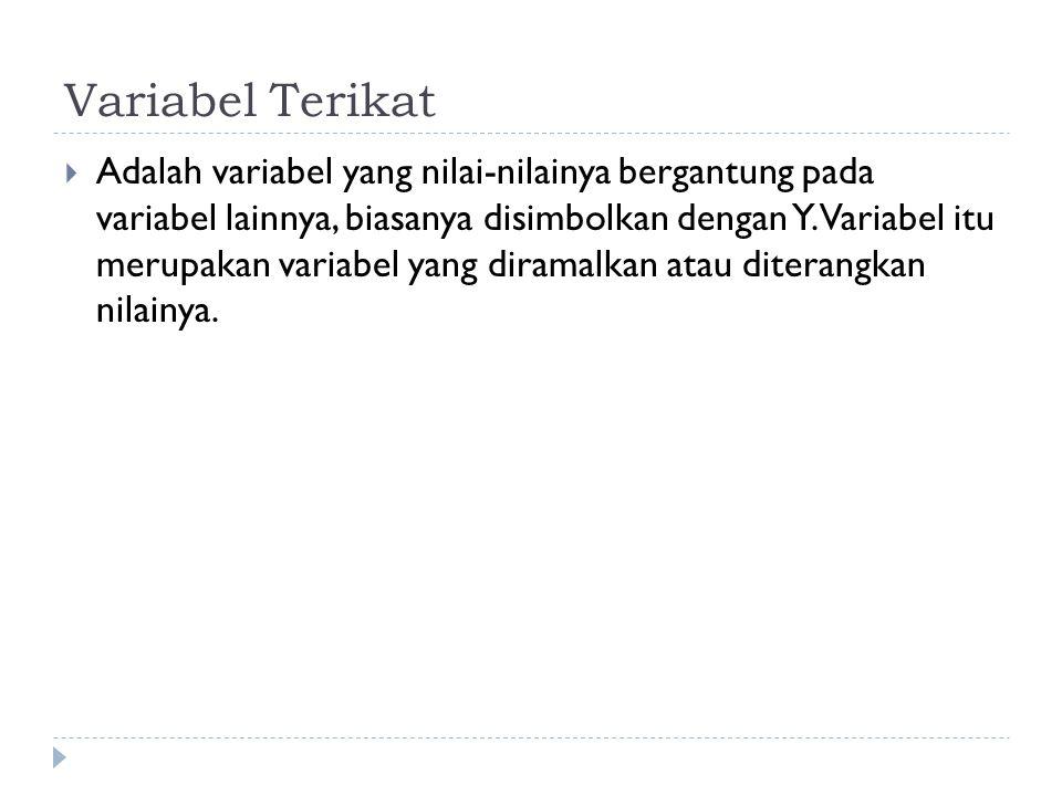 Variabel Terikat  Adalah variabel yang nilai-nilainya bergantung pada variabel lainnya, biasanya disimbolkan dengan Y. Variabel itu merupakan variabe