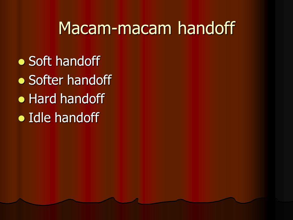 Macam-macam handoff Soft handoff Soft handoff Softer handoff Softer handoff Hard handoff Hard handoff Idle handoff Idle handoff