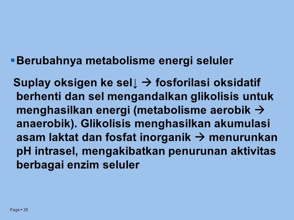 Page  28  Berubahnya metabolisme energi seluler Suplay oksigen ke sel↓  fosforilasi oksidatif berhenti dan sel mengandalkan glikolisis untuk mengha
