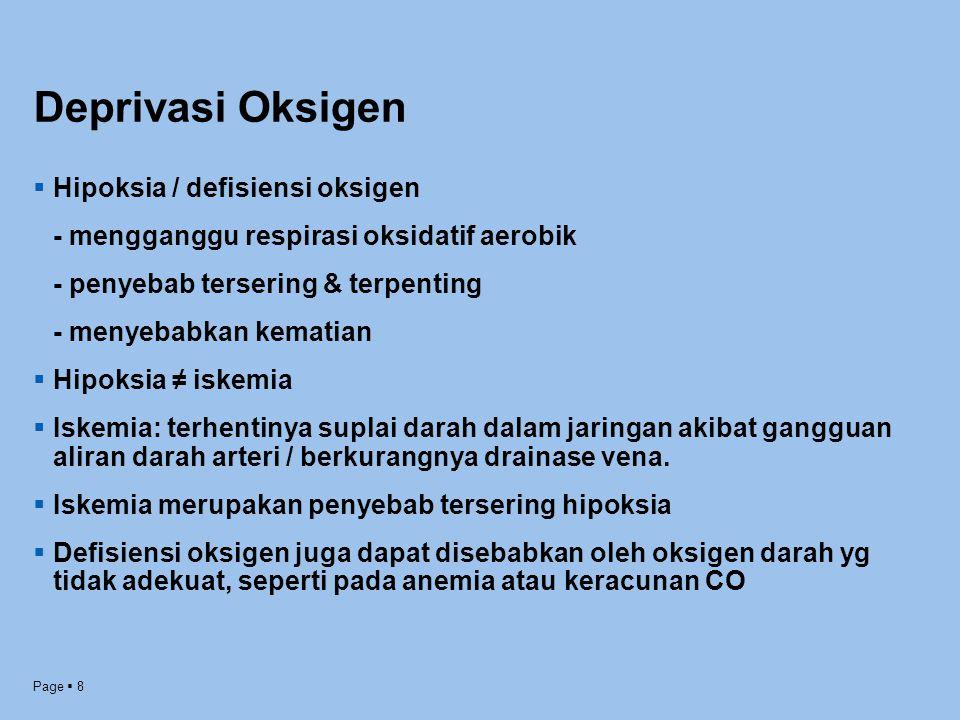 Page  8 Deprivasi Oksigen  Hipoksia / defisiensi oksigen - mengganggu respirasi oksidatif aerobik - penyebab tersering & terpenting - menyebabkan ke