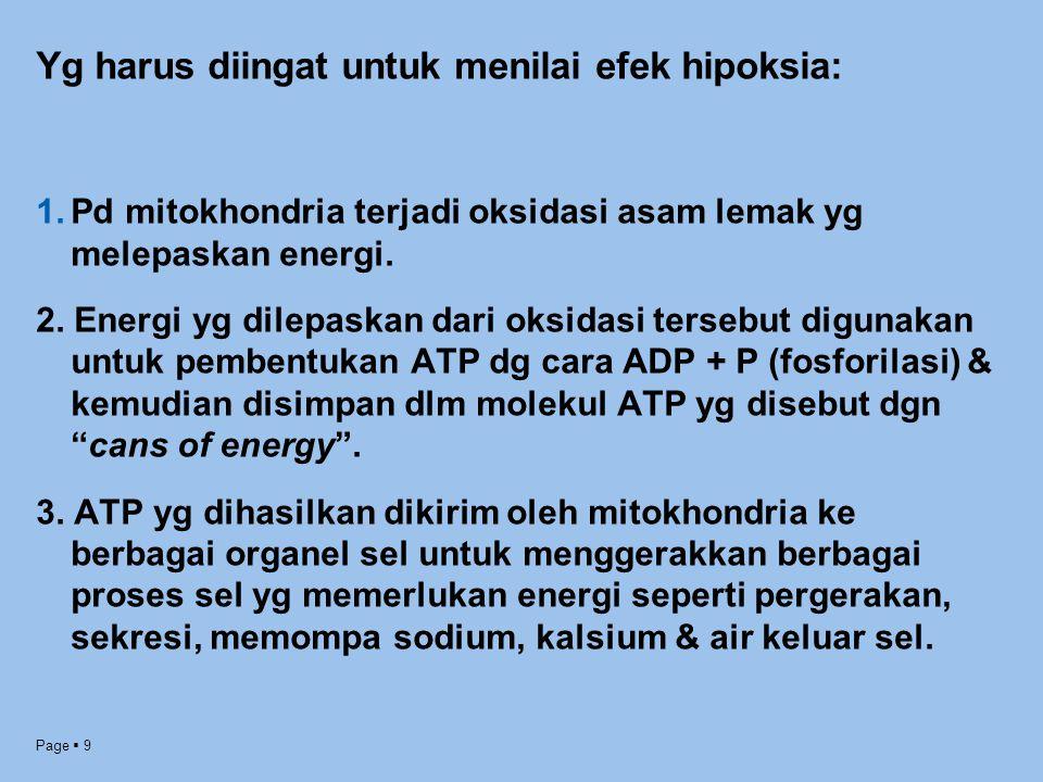 Page  9 Yg harus diingat untuk menilai efek hipoksia: 1.Pd mitokhondria terjadi oksidasi asam lemak yg melepaskan energi. 2. Energi yg dilepaskan dar