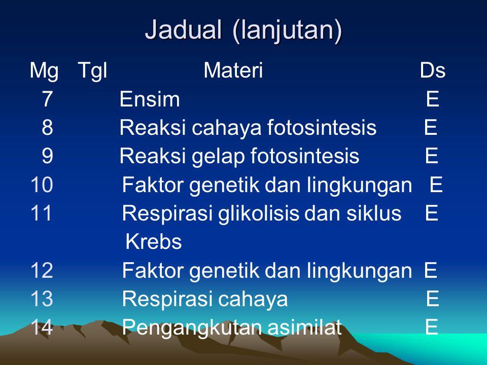 Jadual (lanjutan) Mg Tgl Materi Ds 7 Ensim E 8 Reaksi cahaya fotosintesis E 9 Reaksi gelap fotosintesis E 10 Faktor genetik dan lingkungan E 11 Respir