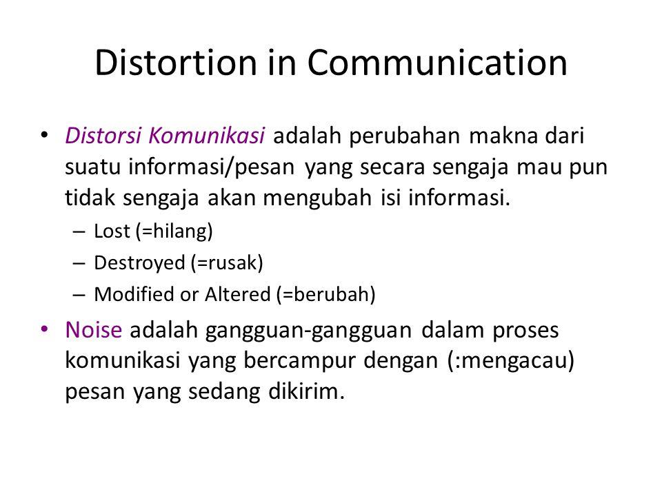 Distortion in Communication Distorsi Komunikasi adalah perubahan makna dari suatu informasi/pesan yang secara sengaja mau pun tidak sengaja akan mengu