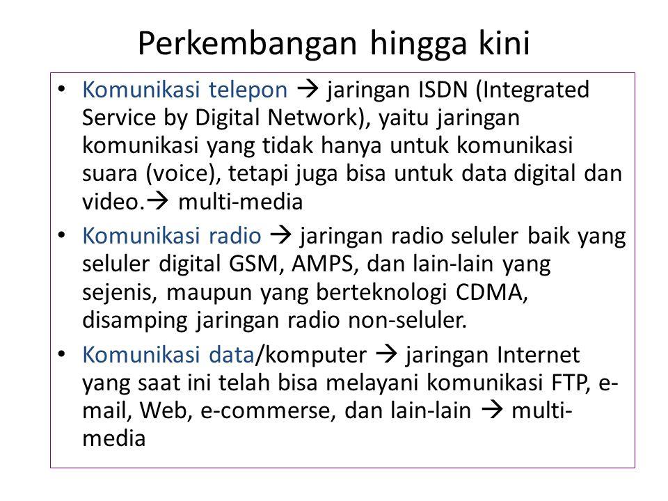 Perkembangan hingga kini Komunikasi telepon  jaringan ISDN (Integrated Service by Digital Network), yaitu jaringan komunikasi yang tidak hanya untuk