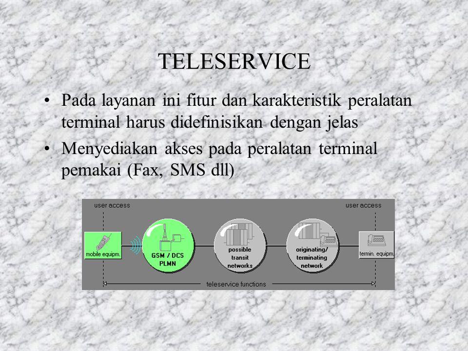BEARER SERVICE Jaringannya digunakan untuk mentransmisikan berita dengan tipe khusus Jaringan juga mendukung transmisi data dengan kecepatan bervariasi