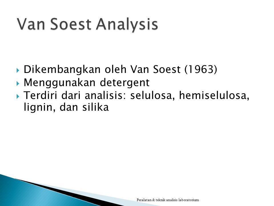  Dikembangkan oleh Van Soest (1963)  Menggunakan detergent  Terdiri dari analisis: selulosa, hemiselulosa, lignin, dan silika Peralatan & teknik an