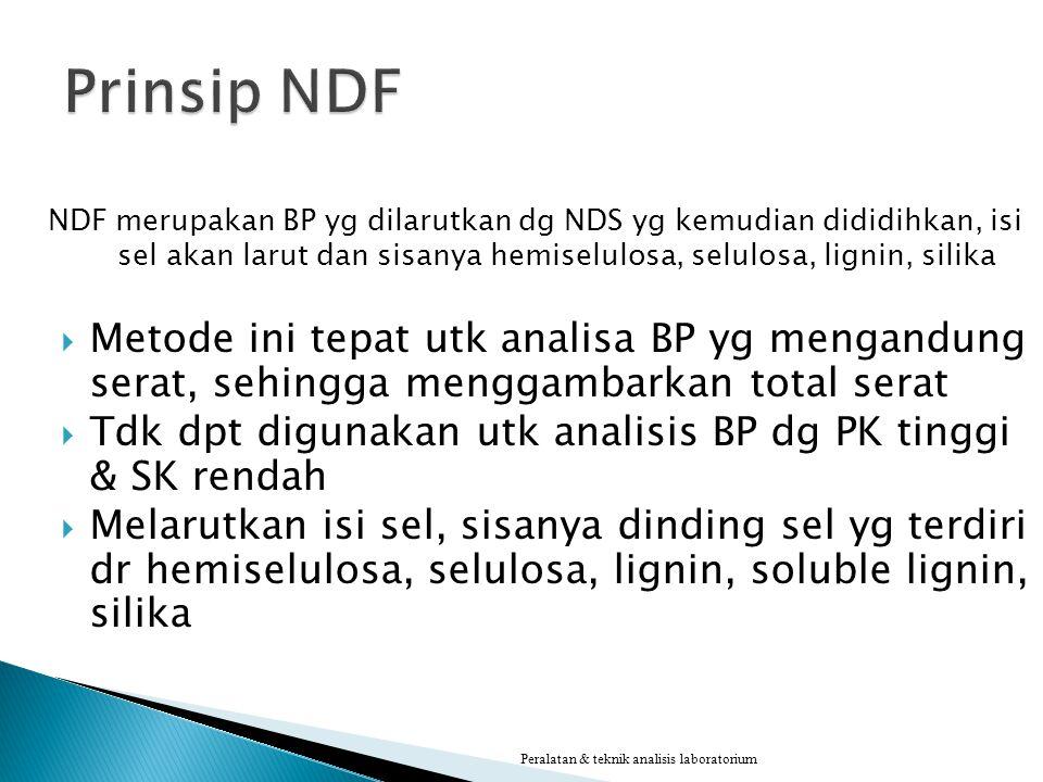 NDF merupakan BP yg dilarutkan dg NDS yg kemudian dididihkan, isi sel akan larut dan sisanya hemiselulosa, selulosa, lignin, silika  Metode ini tepat