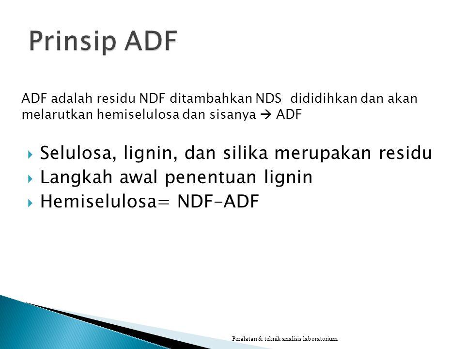 ADF adalah residu NDF ditambahkan NDS dididihkan dan akan melarutkan hemiselulosa dan sisanya  ADF  Selulosa, lignin, dan silika merupakan residu 