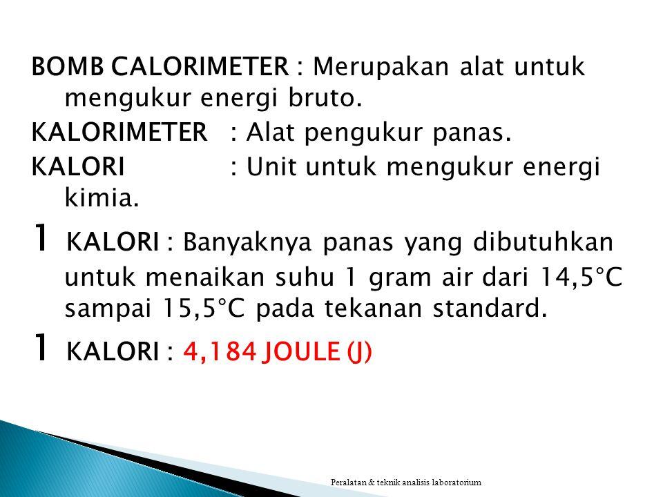 BOMB CALORIMETER: Merupakan alat untuk mengukur energi bruto. KALORIMETER: Alat pengukur panas. KALORI: Unit untuk mengukur energi kimia. 1 KALORI : B