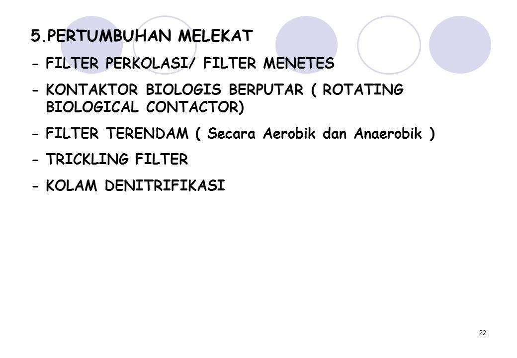 22 5.PERTUMBUHAN MELEKAT - FILTER PERKOLASI/ FILTER MENETES - KONTAKTOR BIOLOGIS BERPUTAR ( ROTATING BIOLOGICAL CONTACTOR) - FILTER TERENDAM ( Secara