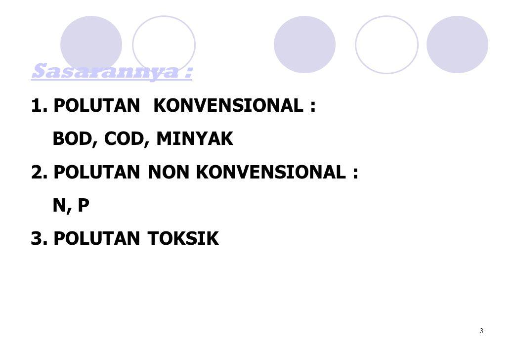 3 Sasarannya : 1. POLUTAN KONVENSIONAL : BOD, COD, MINYAK 2. POLUTAN NON KONVENSIONAL : N, P 3. POLUTAN TOKSIK
