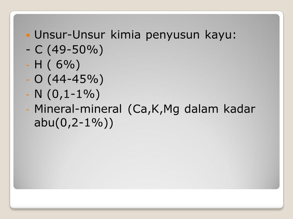 Unsur-Unsur kimia penyusun kayu: - C (49-50%) - H ( 6%) - O (44-45%) - N (0,1-1%) - Mineral-mineral (Ca,K,Mg dalam kadar abu(0,2-1%))