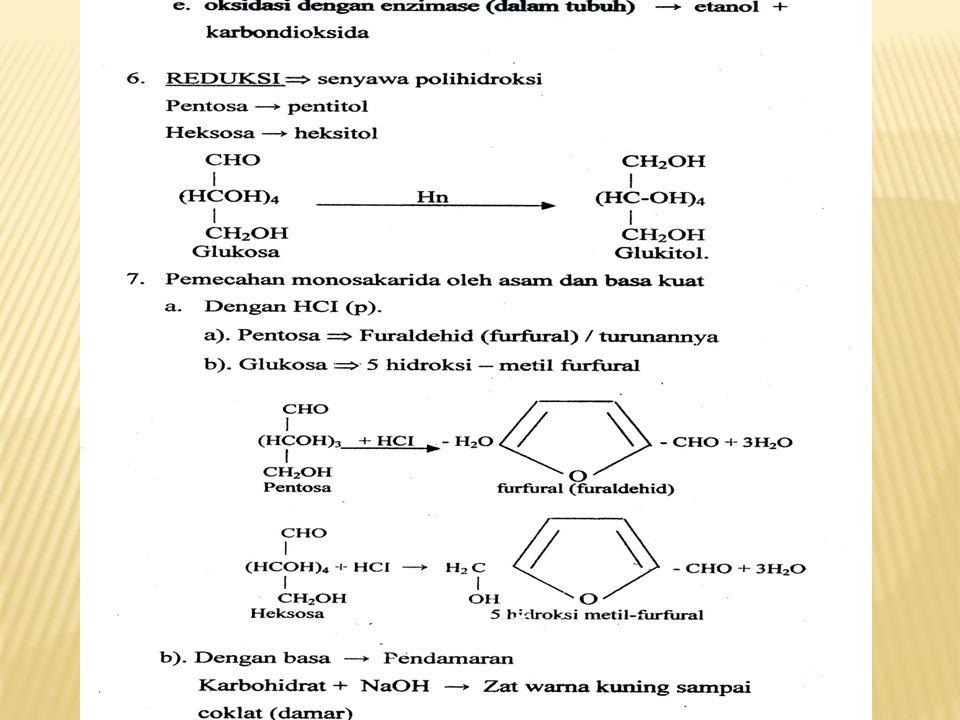 Disakarida lainnya - Selobios, suatu D-glukosil-glukosa, dengan ikatan glikosidik β (1, 4) - Theralosa, suatu D-glukosil-glukosa, dengan ikatan glikosidik α (1, 1) - Gentibiosa, suatu D-glukosil-glukosa, dengan ikatan glikosidik α (1, 6) - Meliobiosa, suatu D-galaktosil-glukosa, dengan ikatan glikosidik α (1, 6) - Primeverosa, suatu D-xylosil-glukosa, dengan ikatan glikosidik β (1, 4) - Visianosa, suatu L-arabinosil-glukosa, dengan ikatan glikosidik β (1, 4) Trisakarida Trisakarida ialah senyawaan karbohidrat yang pada reaksi hidrolisis molekulnya akan menghasilkan 3 buah molekul monosakarida.