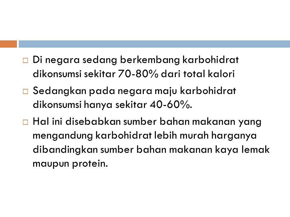  Di negara sedang berkembang karbohidrat dikonsumsi sekitar 70-80% dari total kalori  Sedangkan pada negara maju karbohidrat dikonsumsi hanya sekitar 40-60%.