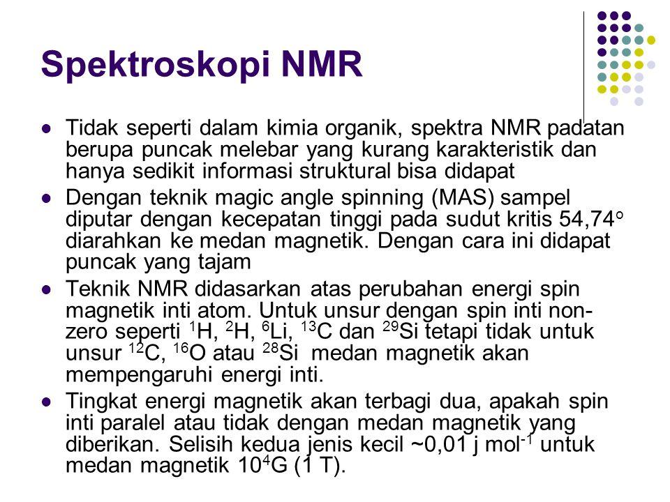Spektroskopi NMR Tidak seperti dalam kimia organik, spektra NMR padatan berupa puncak melebar yang kurang karakteristik dan hanya sedikit informasi st