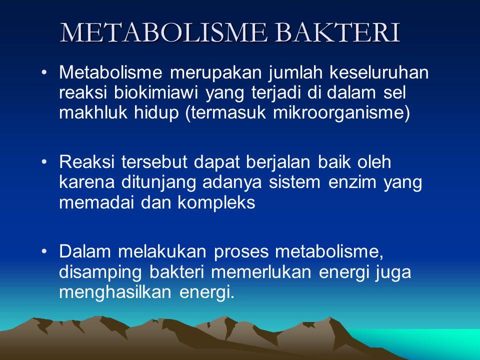 METABOLISME BAKTERI Metabolisme merupakan jumlah keseluruhan reaksi biokimiawi yang terjadi di dalam sel makhluk hidup (termasuk mikroorganisme) Reaksi tersebut dapat berjalan baik oleh karena ditunjang adanya sistem enzim yang memadai dan kompleks Dalam melakukan proses metabolisme, disamping bakteri memerlukan energi juga menghasilkan energi.