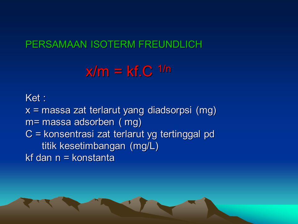 PERSAMAAN ISOTERM FREUNDLICH x/m = kf.C 1/n Ket : x = massa zat terlarut yang diadsorpsi (mg) m= massa adsorben ( mg) C = konsentrasi zat terlarut yg