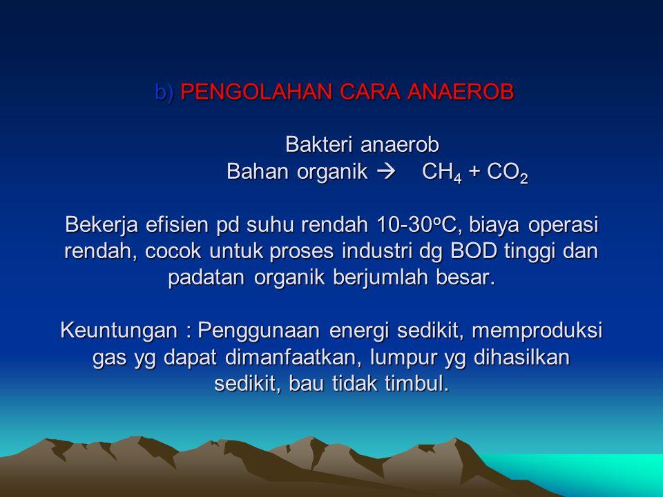 b) PENGOLAHAN CARA ANAEROB Bakteri anaerob Bahan organik  CH 4 + CO 2 Bekerja efisien pd suhu rendah 10-30 o C, biaya operasi rendah, cocok untuk pro